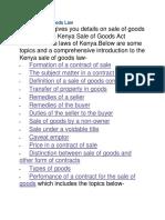 Kenya Sale of Goods Law