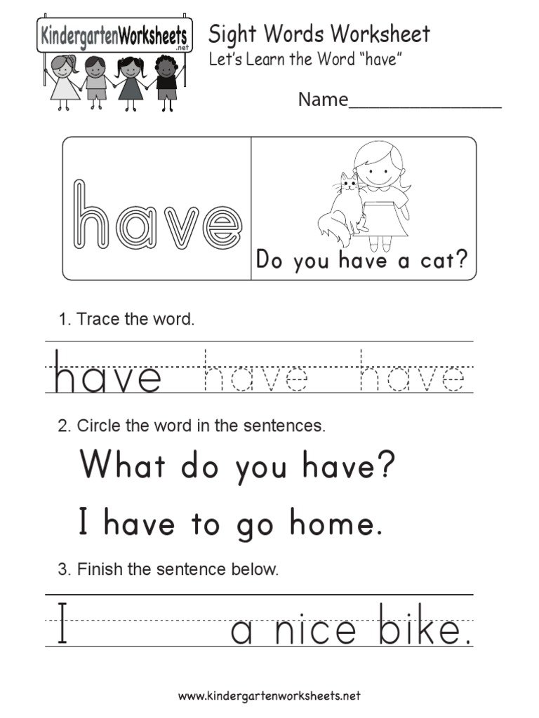 - Have Sight Word Worksheet