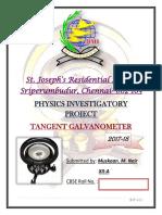 Physics Investigatory Project(XII) Tangent Galvanometer