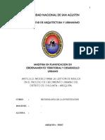 Modelo Para La Gestión Del Riesgo en El Proceso de Crecimiento Urbano Del Distrito de Chiguata