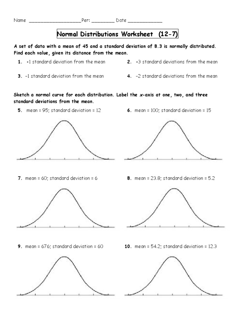 Worksheets Standard Deviation Worksheet With Answers normal distributions worksheet 3 standard deviation distribution