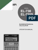 Calculator - Sharp El735s Manual