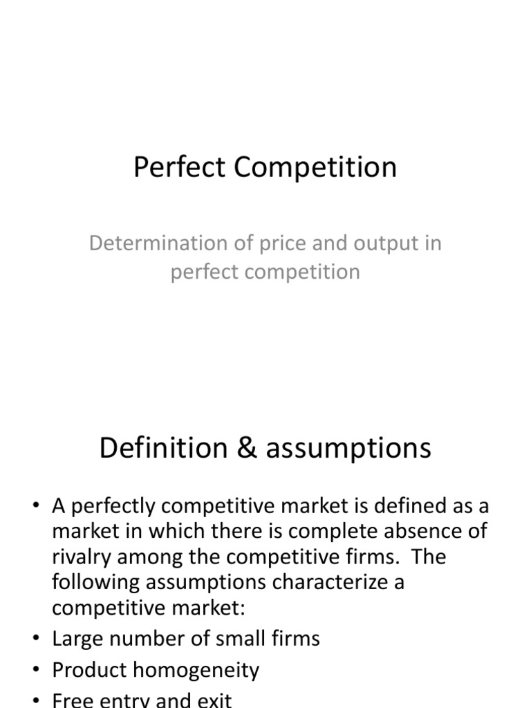 perfectly competitive market assumptions
