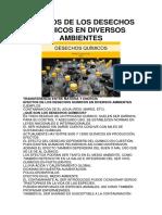 Efectos de Los Desechos Químicos en Diversos Ambientes