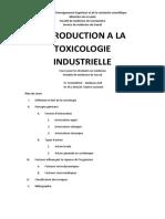 Travail6an 2016 Introduction a La Toxicologie Industrielle