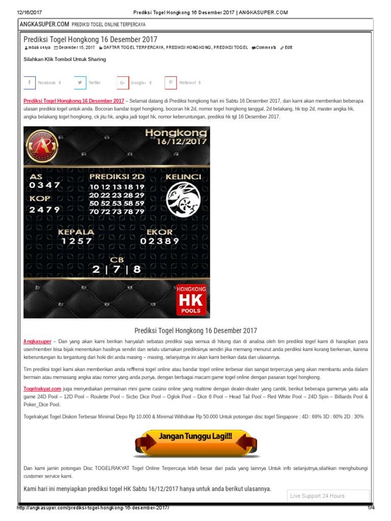 Prediksi Togel Hongkong 16 Desember 2017   ANGKASUPER a11b4386b5