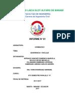 Adherencia y Anclaje Informe