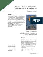 De Los Bienes Comunes Al Bien Común de La Humanidad. Francois Houtart