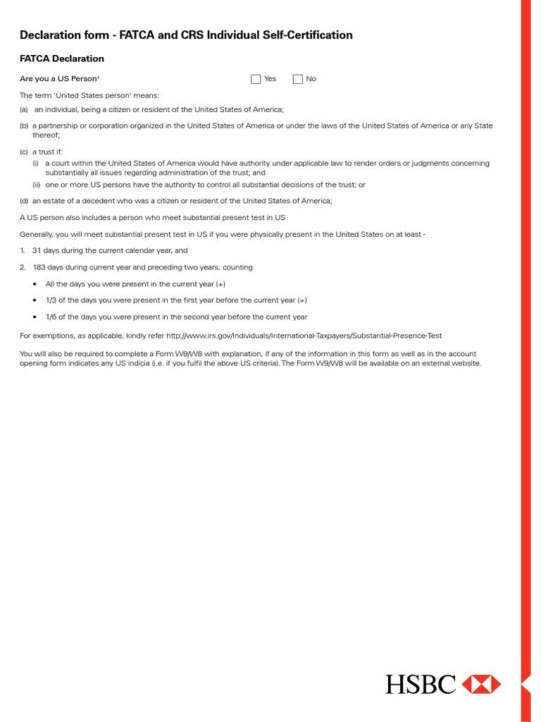 Fatca Crs Self Certification Form Address Geography Trust Law