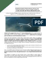 111217 Le 11ème Vol Hebdomadaire Paris-Hong Kong de Cathay Pacific Sest Envolé de Paris Dimanche Soir
