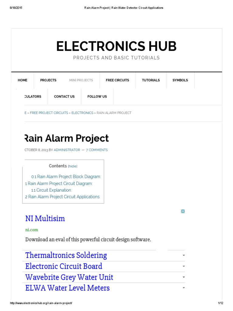 Rain Alarm Project Water Detector Circuit Applications Electronics With Diagram Electronic Circuits Engineering