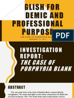 The Case of Porphyria Blank