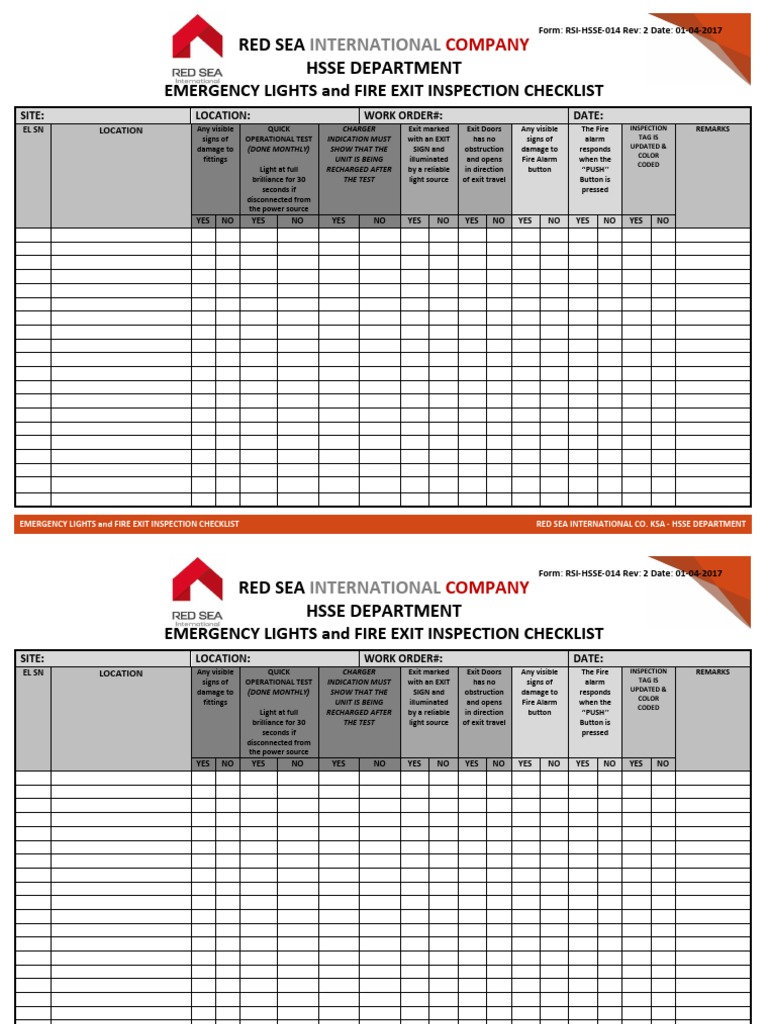 14 monthly emergency lights inspection