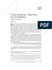 To Say Something—About God, Evil, And Suffering