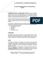 Curriculum Vitae de Ingenieria Proyectos y Construcciones 1