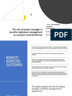 The Role of Project Manager in Benefits Realization93