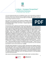 The Right to Culture - European Perspectives- Conference Summary