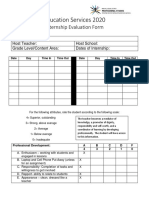 education services 2020 internship evaluation form