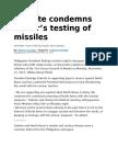 Duterte Condemns NoKor's Testing of Missiles