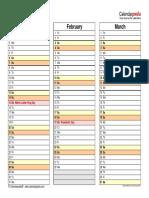 2018 Calendar Landscape 4 Pages