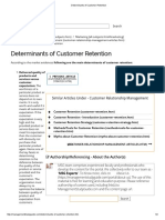 Determinants of Customer Retention