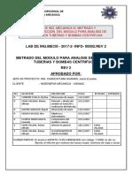 Informe de Metrado del modulo de análisis de fluidos en bombas y tuberias