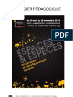 Dossier pédagogique de l'exposition Espace et especes - Biodiversite, CCSTI EMF Poitiers
