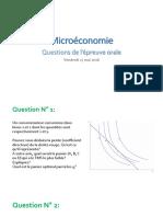 Questions à l'épreuve orale - Microéconomie