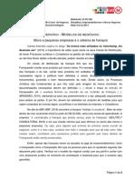 Exercício - Modelos de Negócios - Micro e Pequenas Empresas e o Sistema de Franquia