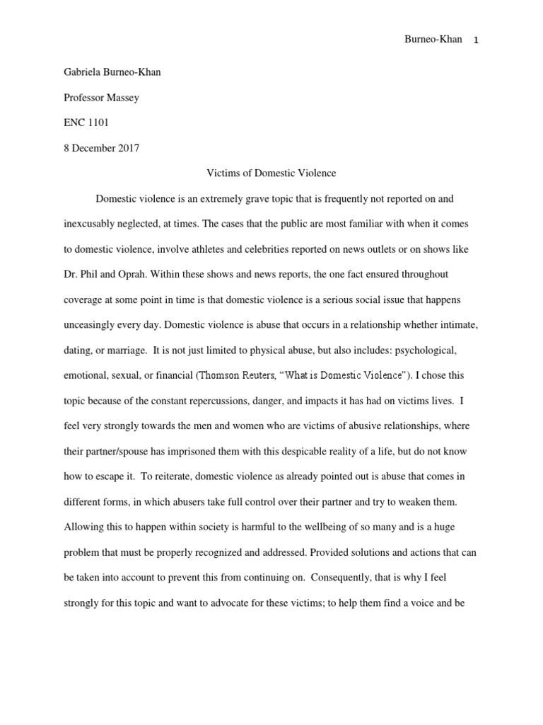 Examples Of Essays For High School Gabriela Burneokhan Domestic Violence Essay Final Paper  Domestic  Violence  Psychological Abuse Essay Paper Topics also What Is A Thesis In An Essay Gabriela Burneokhan Domestic Violence Essay Final Paper  Domestic  After High School Essay