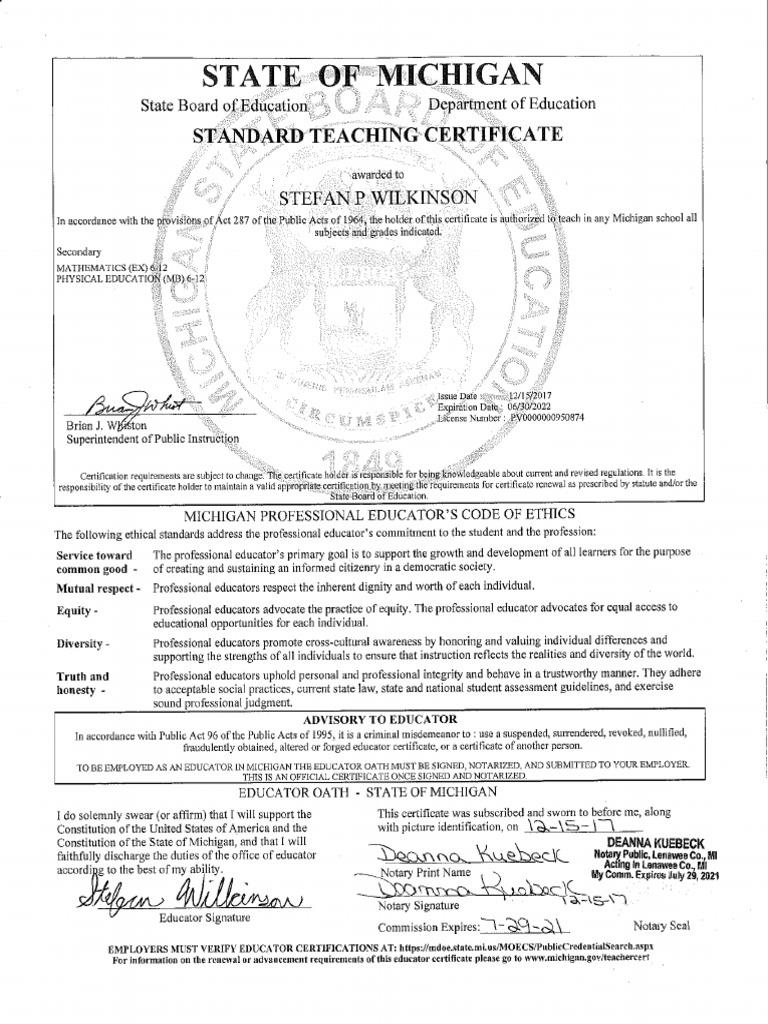 Stefan Wilkinson Michigan Standard Teaching Certificate Notarized