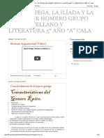 """ÉPICA GRIEGA, LA ILÍADA Y LA ODISEA DE HOMERO GRUPO N° 2 CASTELLANO Y LITERATURA 5° AÑO """"A"""" CALA"""