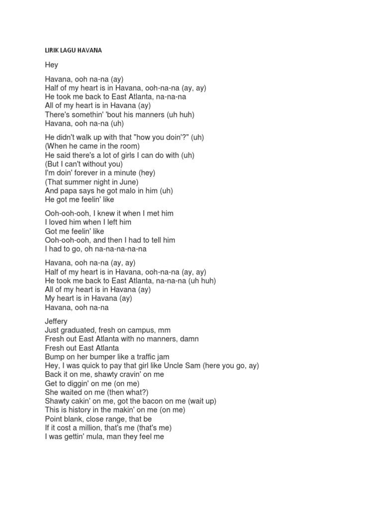 teks lagu havana