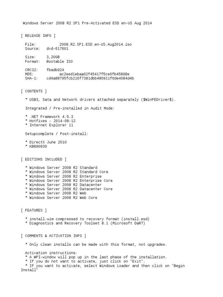 Windows Server 2008 R2 SP1 Pre-Activated ESD en-US Aug 2014