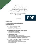 Christine Ragoucy Une approche de la question économique dans l'enseignement de Jacques Lacan