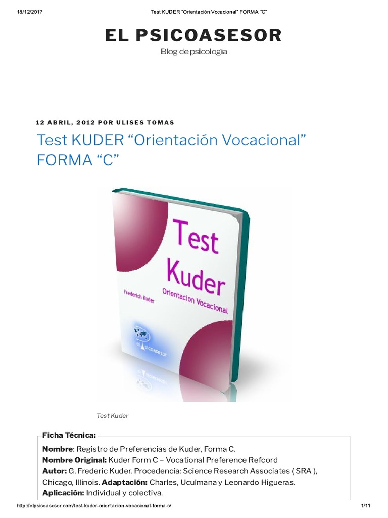 test vocacional de kuder