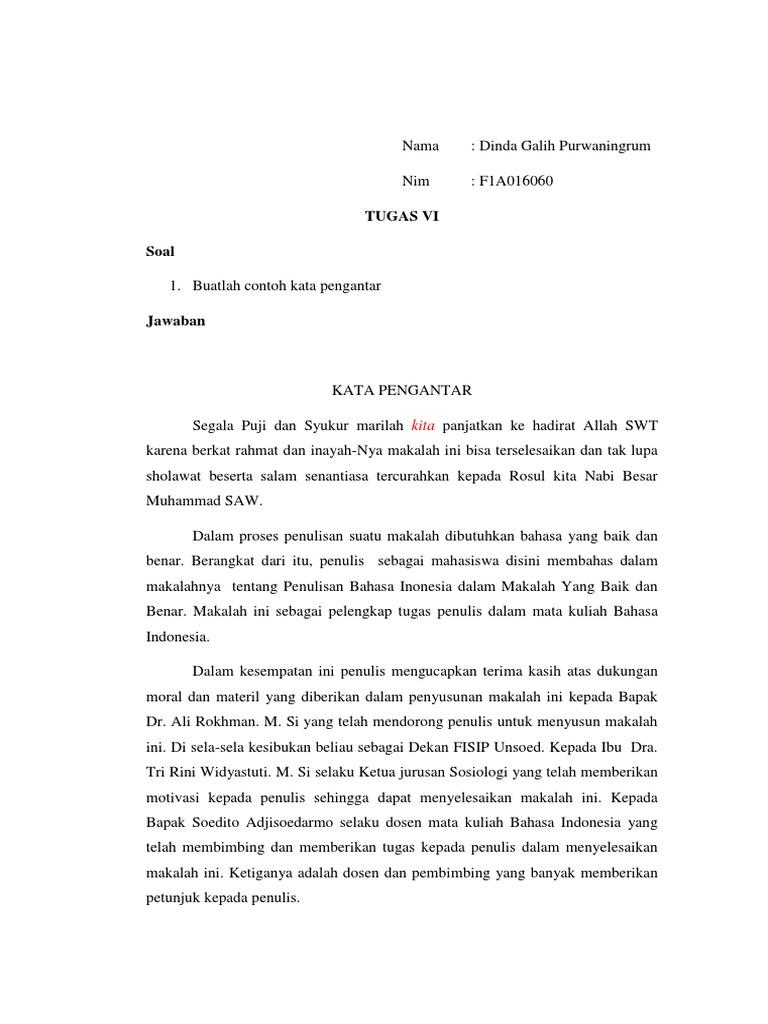 Bahasa Indonesia Contoh Kata Pengantar