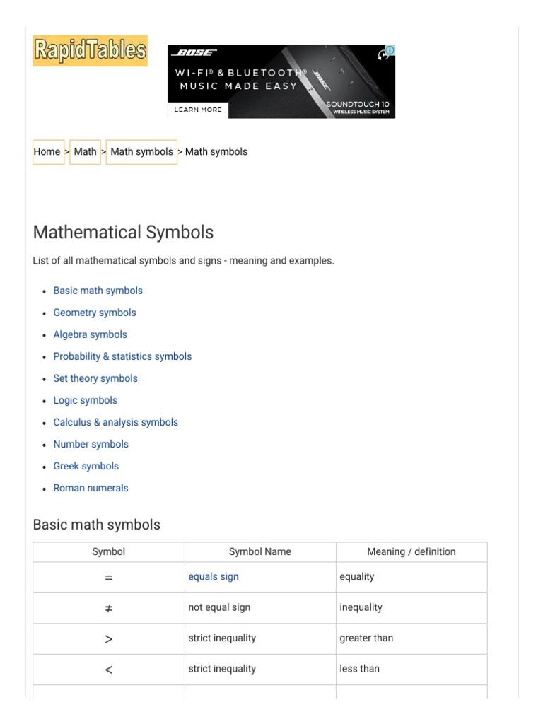 mathematical symbols list (+,-,x,_,=,_,_,) | derivative | variance
