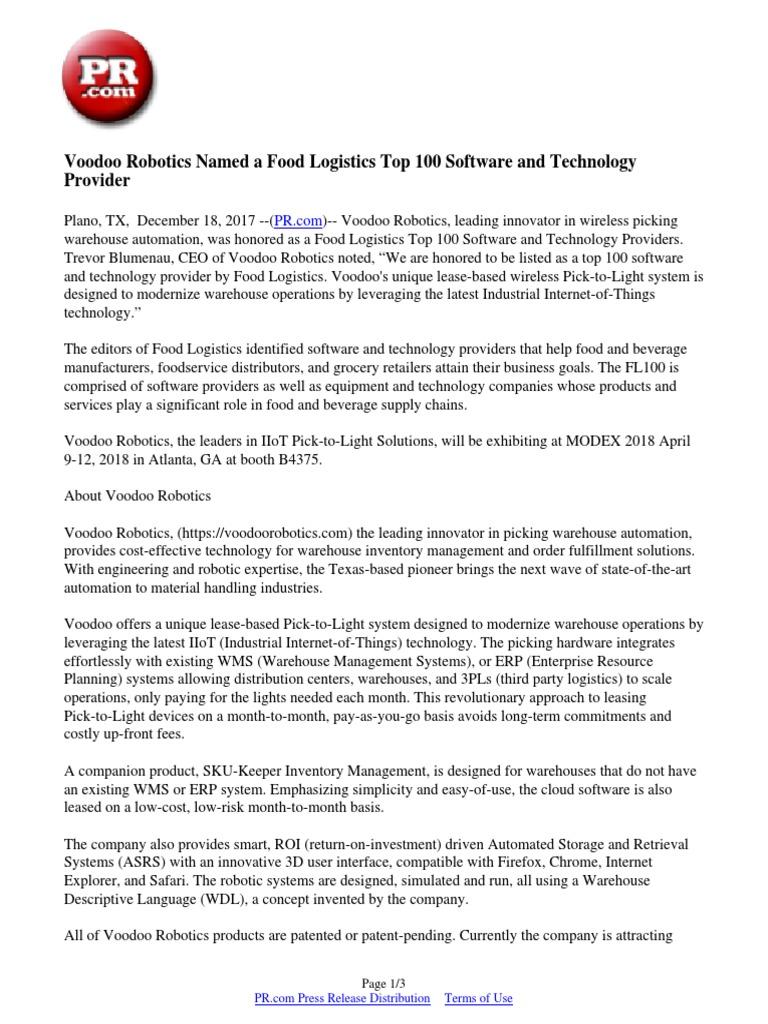 Voodoo Robotics Named a Food Logistics Top 100 Software and