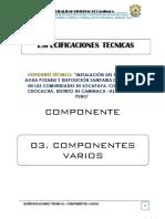 3.0. Especificaciones Tecnicas Componentes Varios