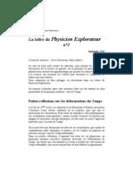 La lettre du Physicien Explorateur, n°1, petites réflexions sur les déformations du Temps