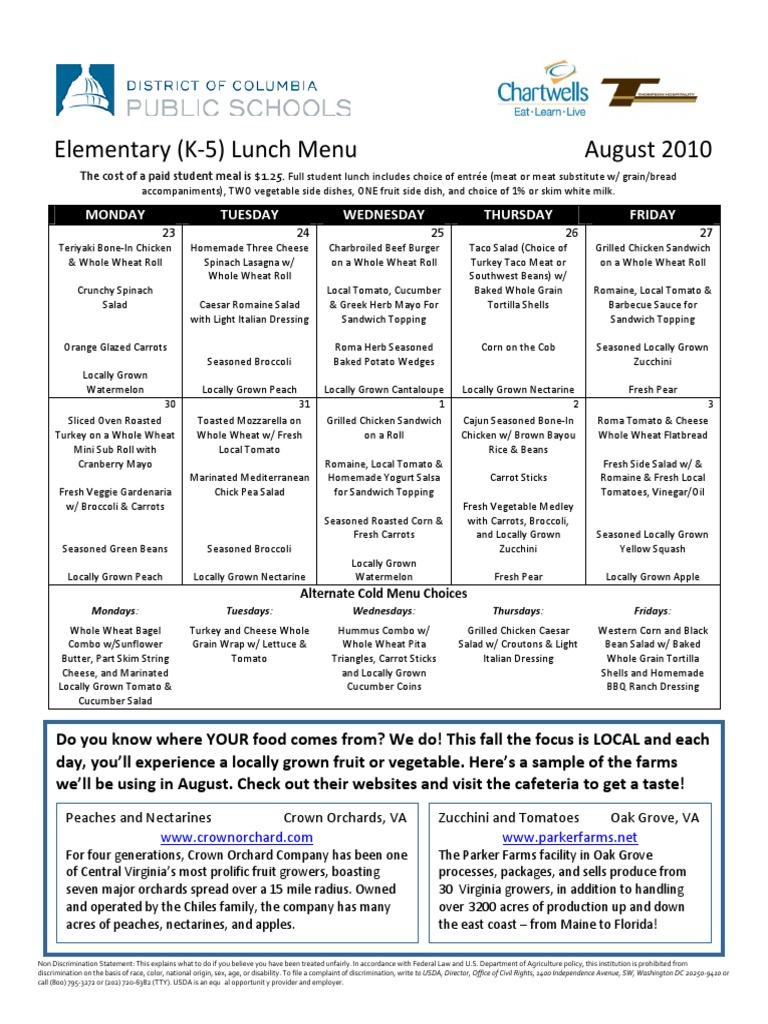 Chartwells August 2010 Lunch Menu | Salad | Zucchini