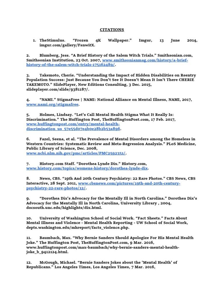 English 3 Citations Mental Health Mental Disorder