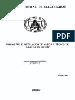 0MUR0-31 Suministro e Instalacion de Muros y Techos de Lámina de Acero