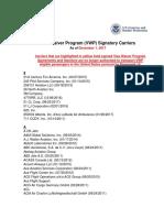 Signatory VWP Carriers(December 2017)