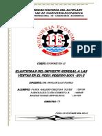 Elasticidad Del Impuesto General de Las Ventas
