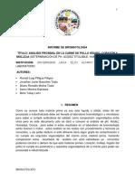 Bromatologa Informe 2. Carne de Pollo Hígado Corazón Molleja
