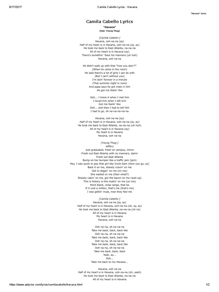 lyrics to havana camila cabello