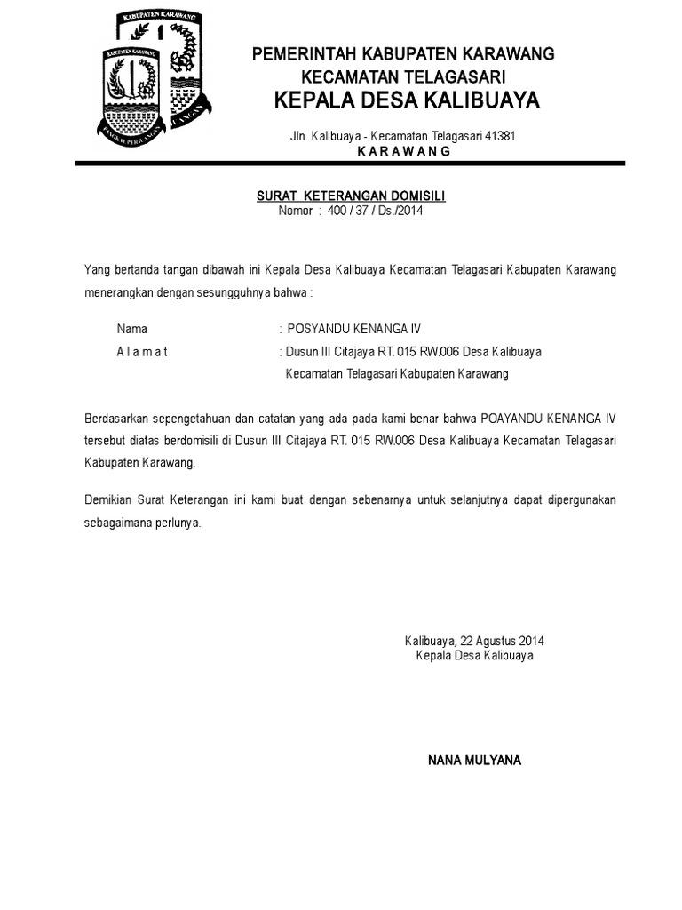 Contoh Surat Keterangan Domisili Dari Rt