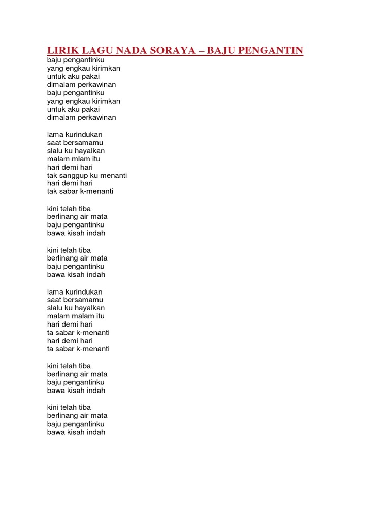 Lirik Lagu Nada Soraya